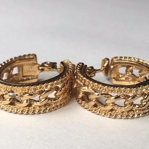 Monet Thick Cable Knit Chain Hoop Earrings Gold
